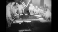 Officers leaving the room and final preparations of scientific apparatus Stock Footage