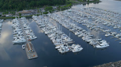 Aerial view Yacht Marina Smith Cove, Seattle, USA Stock Footage