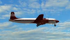 Douglas DC-7 Airplane in fly - close up Stock Footage