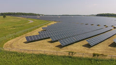 Large Solar Electricity Panel Installation Over Several Acres Stock Footage