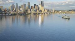 Aerial view downtown skyscrapers Alaskan Way Viaduct, Seattle Stock Footage