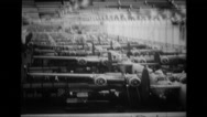 B-24 Liberator bomber lying on production line Stock Footage