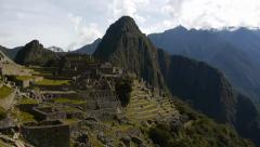 View of Machu Picchu terraced structures Stock Footage