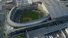 Aerial view Safeco Field, CenturyLink Baseball Stadium Seattle, USA - stock footage