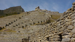 Terraced structure of Machu Picchu Stock Footage