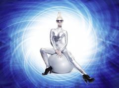Beautiful cyber woman sitting on a silver ball .... Stock Illustration