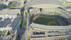 Aerial view Safeco Field Baseball Stadium Seattle, USA Stock Footage