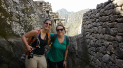 Tourists enjoying their Machu Picchu tour Stock Footage