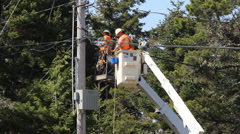 1440 Electric Crew Working on Power Lines 7 Stock Footage