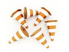 many orange road cones crashed rendered on white background - stock illustration