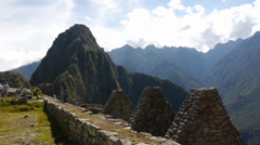 Spectacular view at the top of Machu Picchu Stock Footage