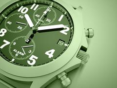 Green sport watch concept rendered Stock Illustration