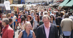 Crowds visit Portobello markets in London 4K Stock Footage