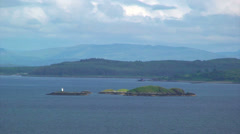 Islands in the middle of the loch / fjord Stock Footage