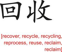 Chinese Sign for recover, recycle, recycling, reuse, reclaim Piirros