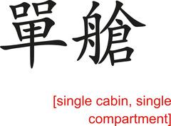 Chinese Sign for single cabin, single compartment - stock illustration