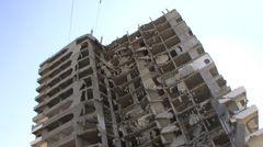 Bombed building in Gaza City Stock Footage