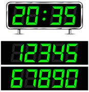 vector digital clock - stock illustration