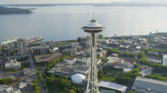 Aerial coastal view Space Needle, downtown Seattle, USA Stock Footage
