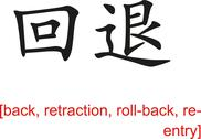 Stock Illustration of Chinese Sign for back, retraction, roll-back, re-entry