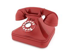 Red old telephone isolated rendered Stock Illustration