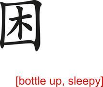 Chinese Sign for bottle up, sleepy Stock Illustration