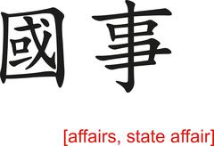 Chinese Sign for affairs, state affair - stock illustration
