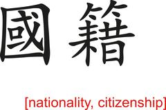 Chinese Sign for nationality, citizenship - stock illustration