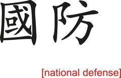 Chinese Sign for national defense - stock illustration