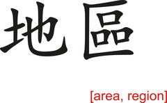 Chinese Sign for area, region - stock illustration