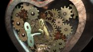 Stock Video Footage of 3D STEAMPUNK HEART close-up. ALPHA MATTE