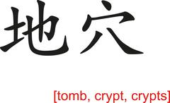 Chinese Sign for tomb, crypt, crypts Stock Illustration