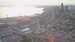 Aerial view  CenturyLink Baseball Stadium,  downtown Seattle Stock Footage