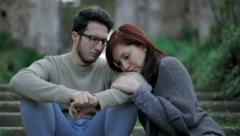 couple makes peace after argument: loneliness,, pain, love - stock footage