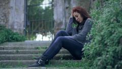 Girl crying in depression and frustration - stock footage