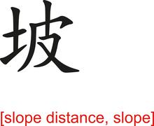 Chinese Sign for slope distance, slope - stock illustration