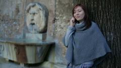 Calling. Smartphone. Copy of Bocca della Verità on background Stock Footage