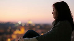 In thought of someone who hasn't come at sunset in front of Rome landscape Stock Footage