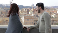 Stock Video Footage of young couple in love in Rome: engagement, caresses, hugs, romantic partners