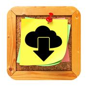 Stock Illustration of Cloud Icon on Cork Message Board.