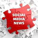 Stock Illustration of Social Media News on Red Puzzle.