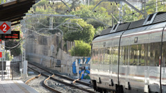 Train starting of station Stock Footage
