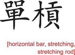 Stock Illustration of Chinese Sign for horizontal bar, stretching, stretching rod