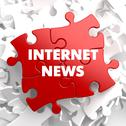 Stock Illustration of Internet News on Red Puzzle.