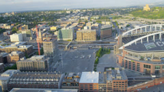 Aerial view CenturyLink Field Baseball Stadium Seattle, USA Stock Footage