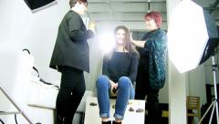 Fashion hair stylist doing last touch Stock Footage