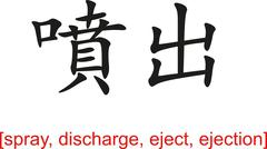 Chinese Sign for spray, discharge, eject, ejection Stock Illustration