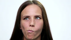 Portrait closeup of smiling  girl face. Girl face  (emotions). Stock Footage