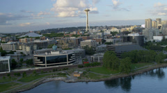 Aerial view Space Needle Downtown Seattle, USA Stock Footage