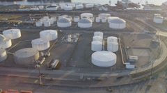 Aerial view of commercial Storage tanks, Harbor Island, Seattle Stock Footage